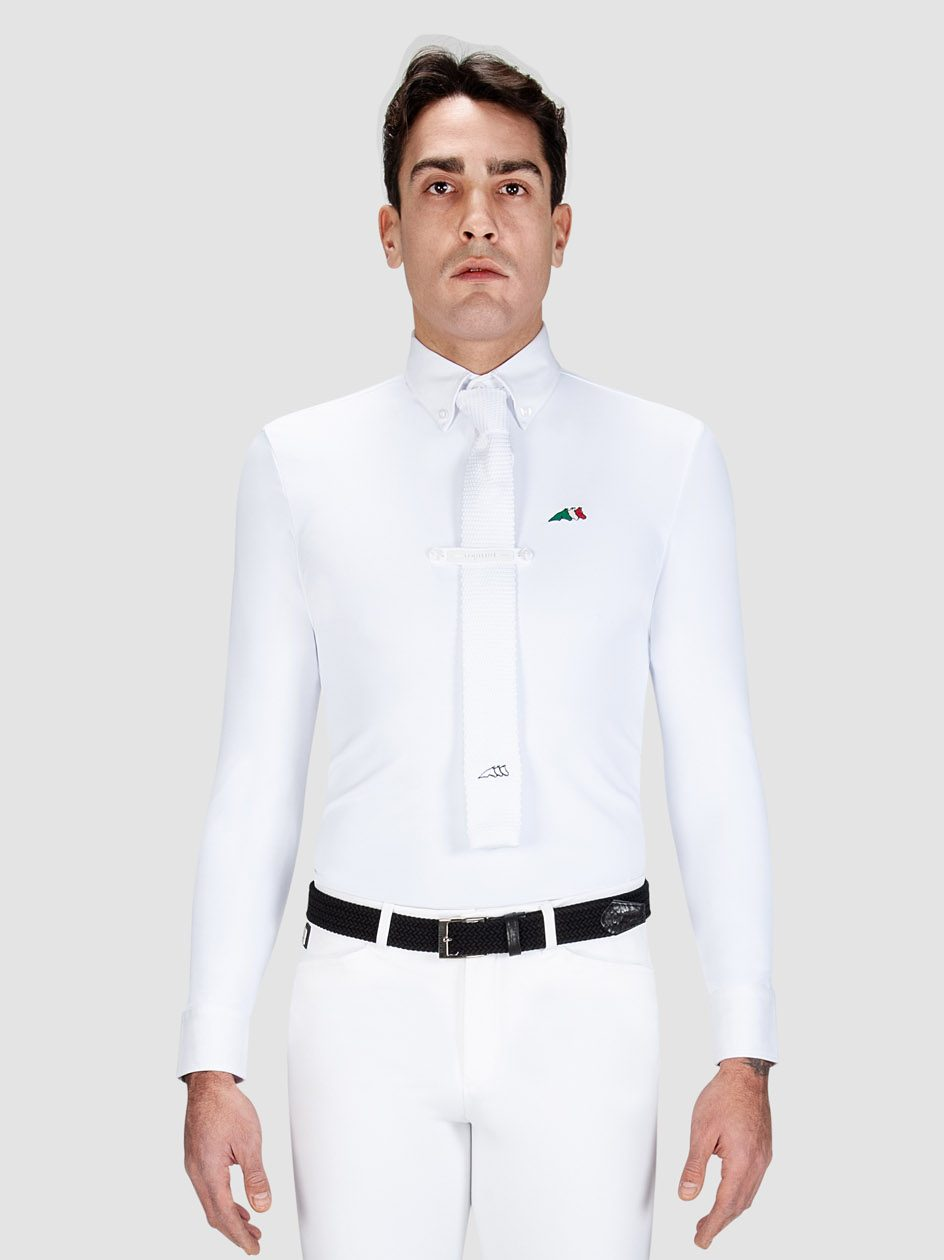 Equiline David men's Long sleeve show shirt in white