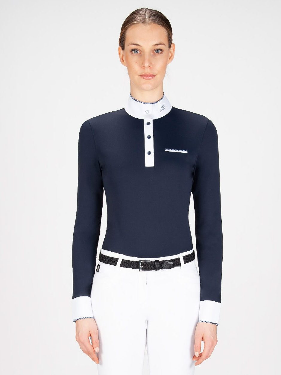 Equiline Gracielle women's long sleeve show shirt with trim in blue