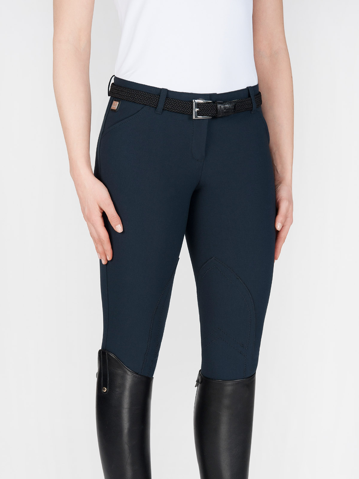 BOSTON Women's riding breeches with knee patch in navy blue